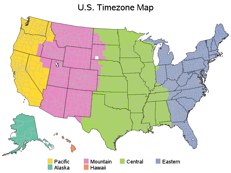 US Timezone Map - Map us timezones