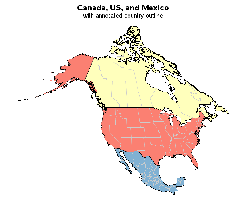 Canada US And Mexico SASGraph Gmap With Annotated Country - Us canada mexico map