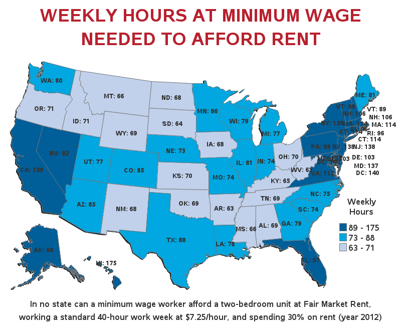 Weekly Hours At Minimum Wage Needed to Afford Rent