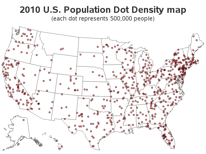 US Population Dot Density Map - Map of the us population density
