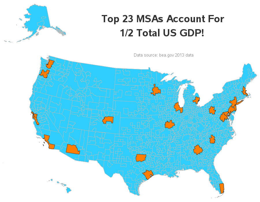 Americas GDP MSA Map Another Version OCx MapPorn - Gdp map of us