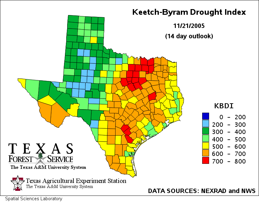 Keetch-Byram Drought Index (TEXAS) - SAS/Graph map on texas energy map, texas disease map, texas stream map, texas climate map, texas drainage map, texas coastal management map, the woodlands texas faultlines map, texas light map, texas cold front map, texas tsunami map, texas migration map, texas ozone map, texas fall color map, texas wildfires, texas highway 16 map, texas blizzard map, texas arizona new mexico map, plant native texas regions map, texas record cold map, texas air mass map,