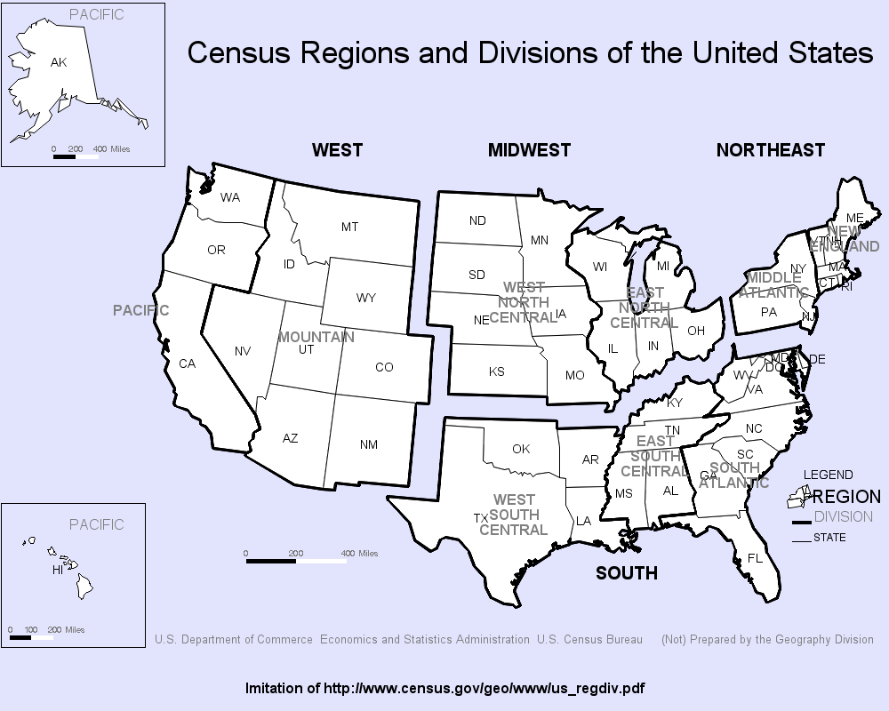 US Census Regions - SAS/Graph GMAP