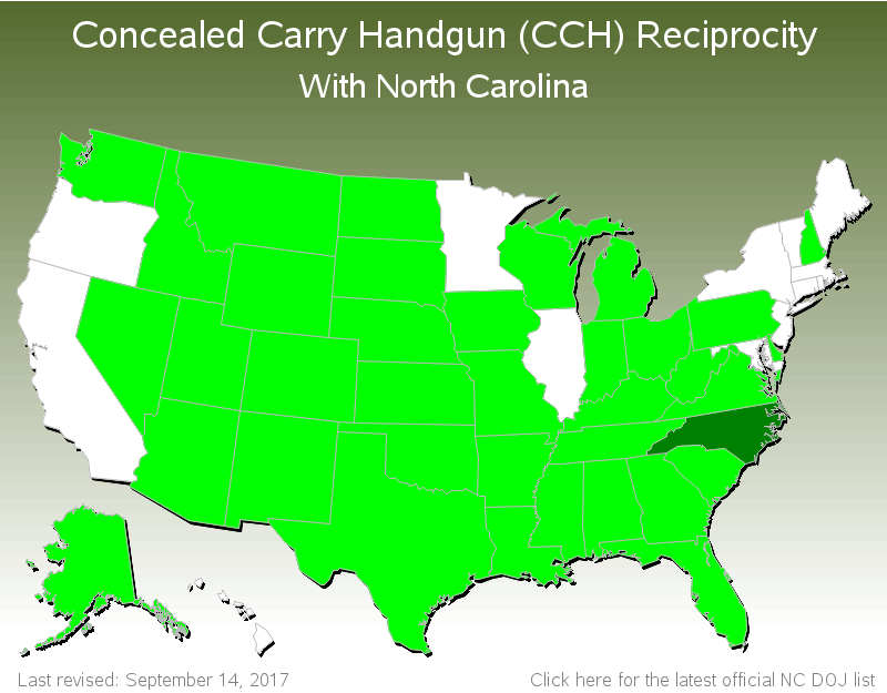 North Carolina Ccw Reciprocity Map Concealed Carry Handgun (CCH) Reciprocity with North Carolina