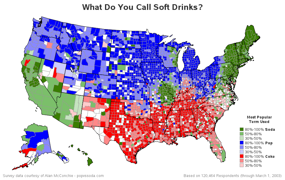 Soda Pop Map New version of the US coke, pop, soda map [OC][PNG][950x600] : MapPorn